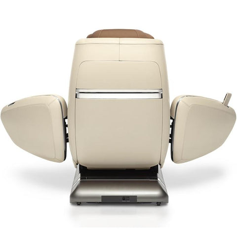 OHCO M.8 4D Massage Chair in pearl color back view open doors