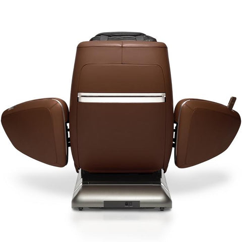 OHCO M.8 4D Massage Chair in walnut color back view open doors