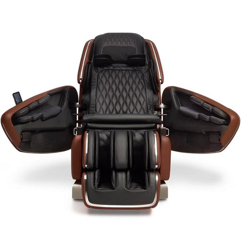 OHCO M.8 4D Massage Chair in walnut color front view open doors