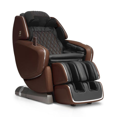OHCO M.8 4D Massage Chair in walnut color semi side view