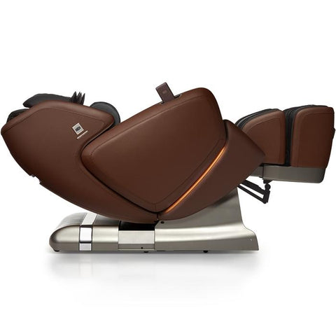 OHCO M.8 4D Massage Chair in walnut color reclined lay flat reclined