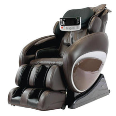 Osaki OS 4000T Massage Chair in brown semi side view with focused controller