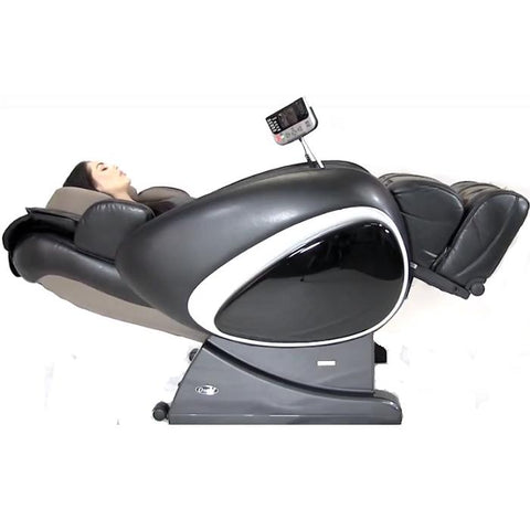 Osaki OS 4000T Massage Chair in black reclined position with model white background