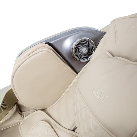 Osaki OS-Pro First Class Massage Chair in beige color close up bluetooth speakers
