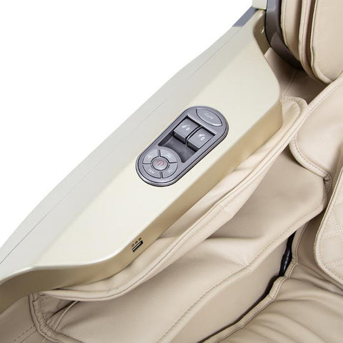 Osaki OS-Pro First Class Massage Chair in beige color close up of controller side