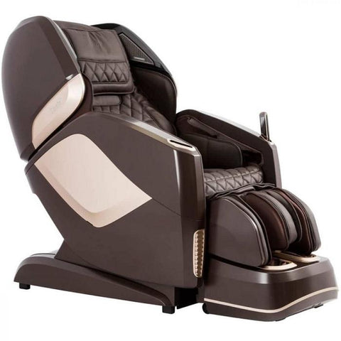 Osaki OS Pro Maestro 4D Massage Chair in brown semi side view