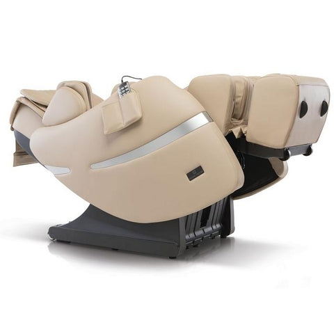 Positive Posture Brio+ Massage Chair in beige fully reclined angle