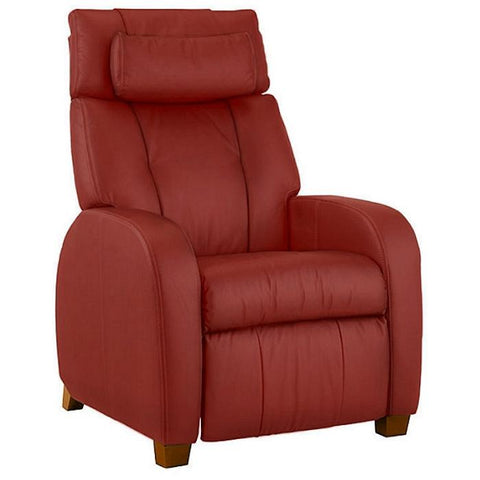 Positive Posture Café Zero Gravity Recliner in garnet semi side view facing right in white background