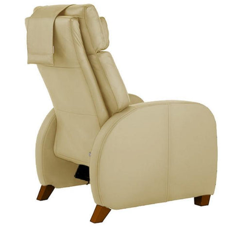 Positive Posture Café Zero Gravity Recliner in sand semi side view facing right in white background