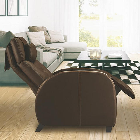 Positive Posture Café Zero Gravity Recliner in brown side view inside a room
