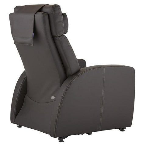 Positive Posture Luma Recliner with Lift Assist in brown semi back view facing right white background