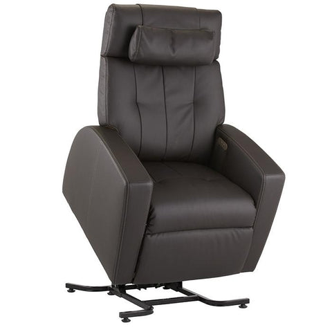 Positive Posture Luma Recliner with Lift Assist in brown semi front view facing right white background
