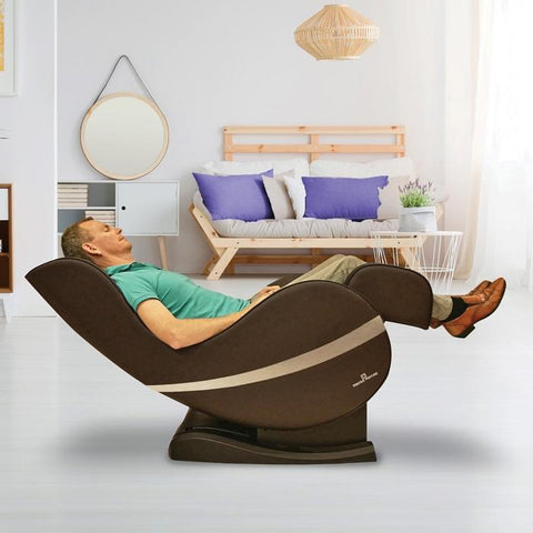 Positive Posture Sol Massage Chair in brown color reclined angle with person inside a room