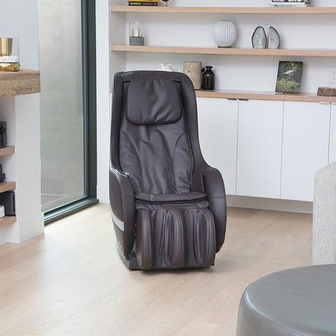 Positive Posture Sol Massage Chair in black semi front view facing right inside a room