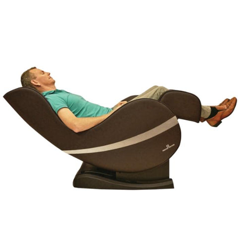 Positive Posture Sol Massage Chair in brown reclined angle with person