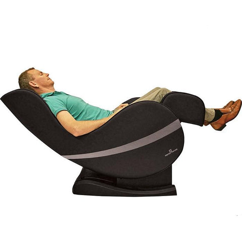 Positive Posture Sol Massage Chair in brown  fully reclined angle with person