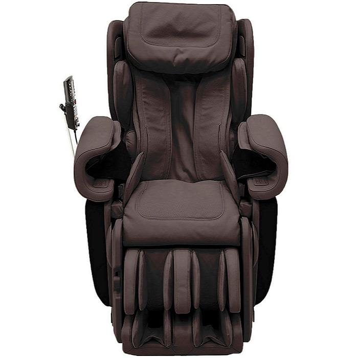 Synca Kagra massage chair in brown color front view.