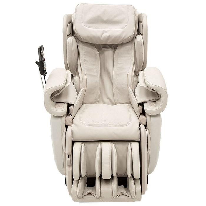 Synca Kagra massage chair in white color front view.