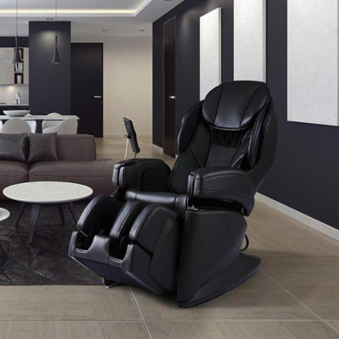 Synca JP1100 Massage Chair in black angled view facing left inside a room