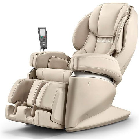 Synca JP1100 Massage Chair in beige color angled view facing left in white background