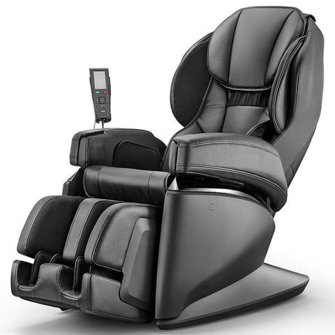 Synca JP1100 Massage Chair in black angled view facing left in white background
