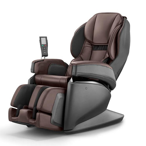 Synca JP1100 Massage Chair in brown and black angled view facing left in white background