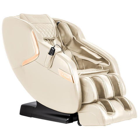 Titan Luca V Massage Chair in cream angled view facing right white background