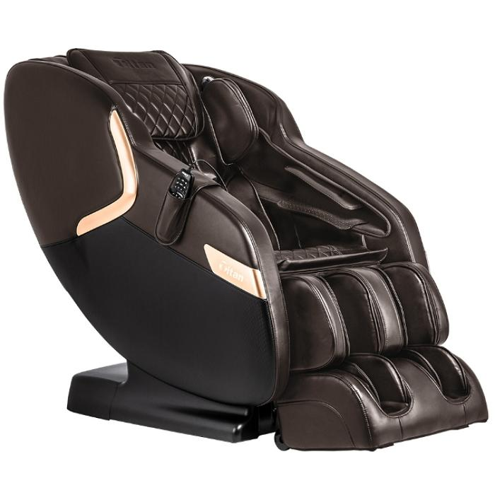 Titan Luca V Massage Chair in brown angled view facing right in white background
