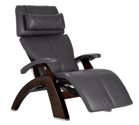 Human Touch Perfect Chair PC-LiVE PC-600 Zero Gravity Recliner Grey Dark Walnut