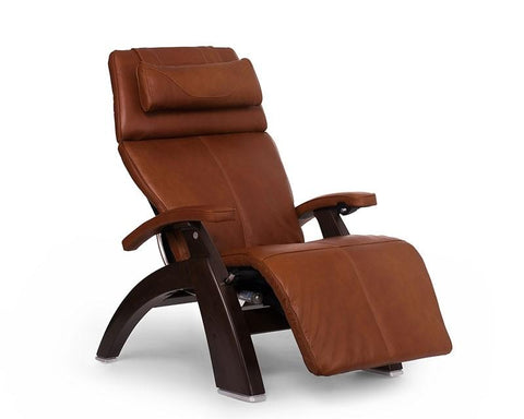 Human Touch Perfect Chair PC-LiVE PC-600 Zero Gravity Recliner Cognac Dark Walnut