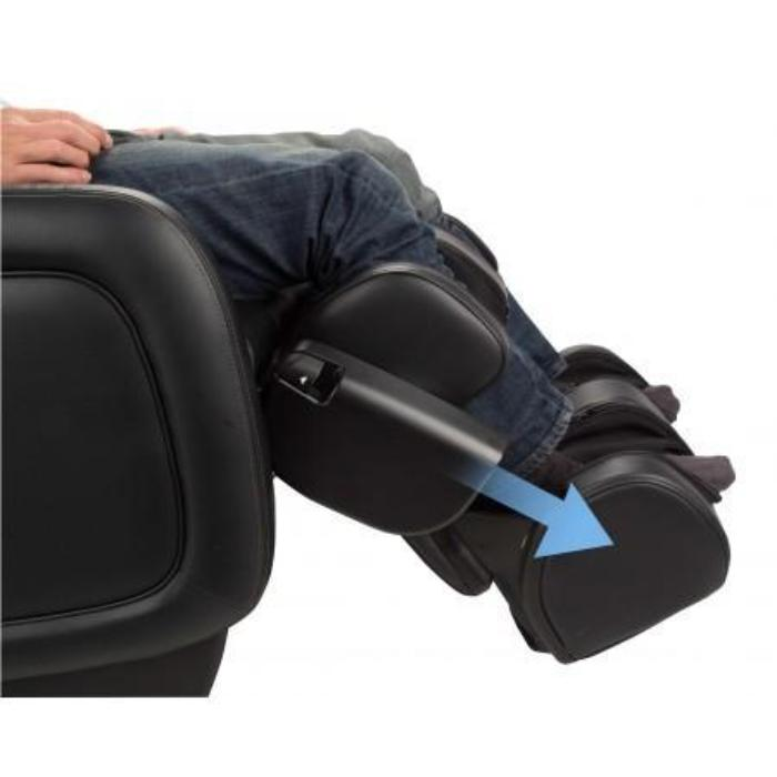 Human Touch ZeroG 5.0 Massage Chair in black with person on footrest down