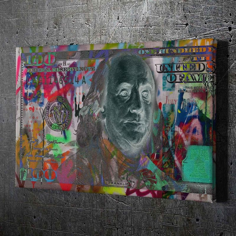 $100 Bill Graffiti - Framed Canvas Painting Wall Art Office Decor, large modern pop artwork for home or office, Entrepreneur Inspirational and motivational Quotes on Canvas great for man cave or home. Perfect for Artwork Addicts. Made in USA, FREE Shipping.