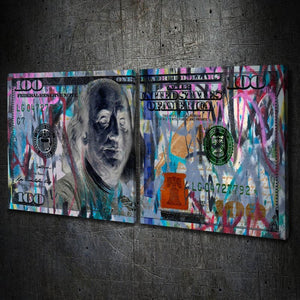 $100 Bill Grafitti Multi-Panel - Artwork Addict
