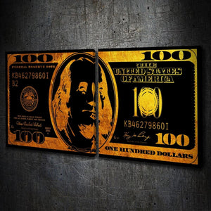 $100 Bill Metallic Gold Multi-Panel - Artwork Addict