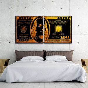 $100 Bill Metallic Gold Multi-Panel - Framed Canvas Painting Wall Art Office Decor, large modern pop artwork for home or office, Entrepreneur Inspirational and motivational Quotes on Canvas great for man cave or home. Perfect for Artwork Addicts. Made in USA, FREE Shipping.