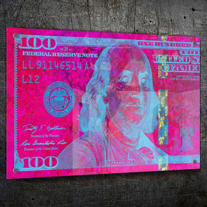 $100 Bill Pink & Blue - Artwork Addict