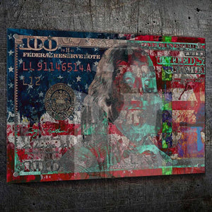 $100 Bill US Flag - Framed Canvas Painting Wall Art Office Decor, large modern pop artwork for home or office, Entrepreneur Inspirational and motivational Quotes on Canvas great for man cave or home. Perfect for Artwork Addicts. Made in USA, FREE Shipping.