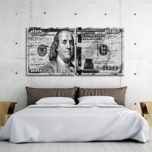 $100 Bill White and Black Marble Multi-Panel - Framed Canvas Painting Wall Art Office Decor, large modern pop artwork for home or office, Entrepreneur Inspirational and motivational Quotes on Canvas great for man cave or home. Perfect for Artwork Addicts. Made in USA, FREE Shipping.