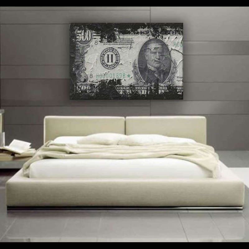 $500 Bill Charred - Framed Canvas Painting Wall Art Office Decor, large modern pop artwork for home or office, Entrepreneur Inspirational and motivational Quotes on Canvas great for man cave or home. Perfect for Artwork Addicts. Made in USA, FREE Shipping.
