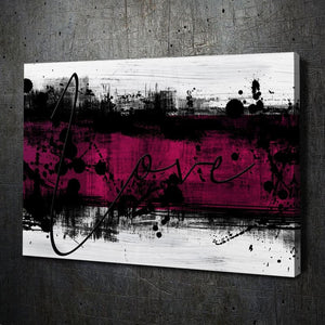 Abstract Love Pink - Framed Canvas Painting Wall Art Office Decor, large modern pop artwork for home or office, Entrepreneur Inspirational and motivational Quotes on Canvas great for man cave or home. Perfect for Artwork Addicts. Made in USA, FREE Shipping.