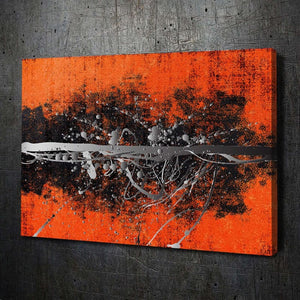 Abstract Orange Silver - Artwork Addict