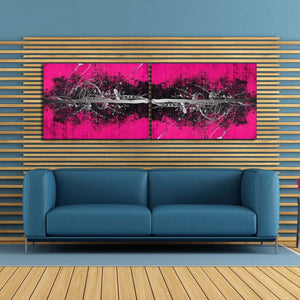 Abstract Pink Silver Landscape - Framed Canvas Painting Wall Art Office Decor, large modern pop artwork for home or office, Entrepreneur Inspirational and motivational Quotes on Canvas great for man cave or home. Perfect for Artwork Addicts. Made in USA, FREE Shipping.