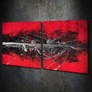 Abstract Red Silver Square Multi-Panel - Artwork Addict