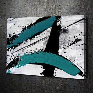 Abstract Teal Black White - Artwork Addict