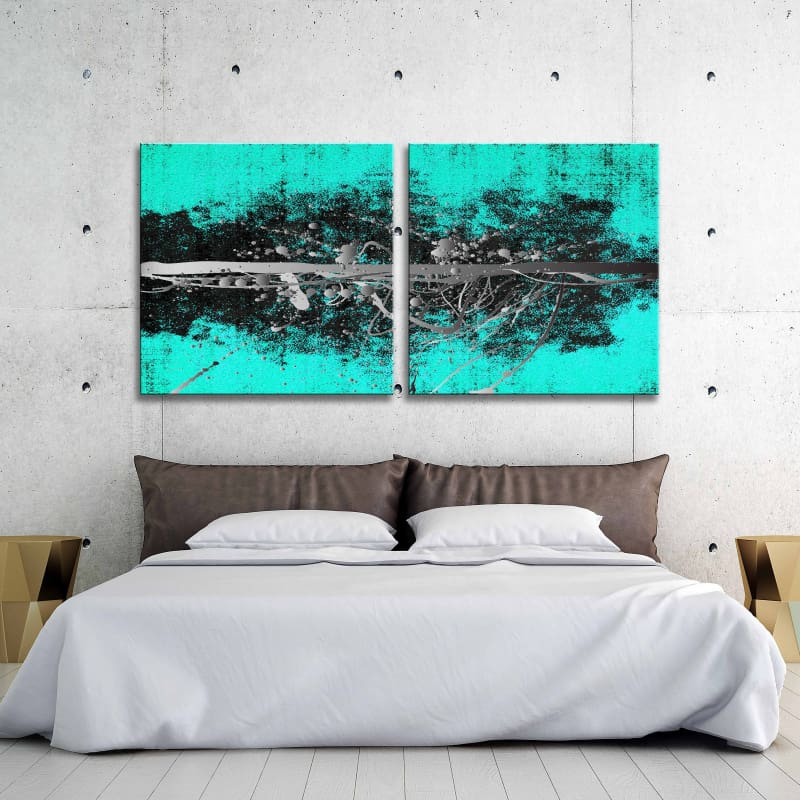 Abstract Teal Silver Square Multi-Panel - Artwork Addict