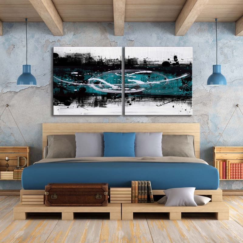 Abstract White Teal Square Multi-Panel - Artwork Addict