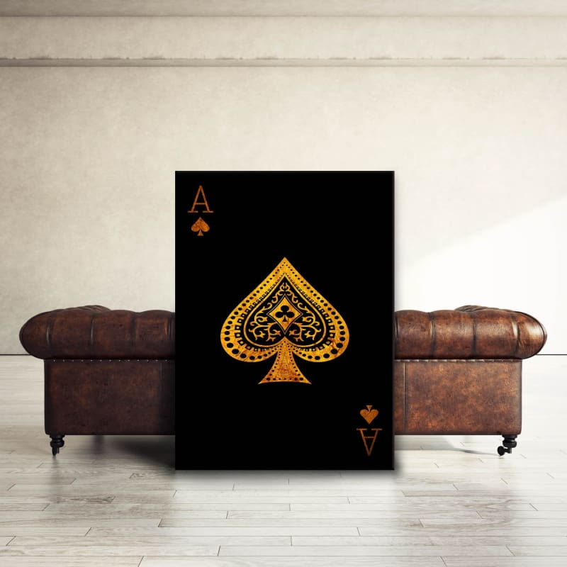 Ace of Spades - Framed Canvas Painting Wall Art Office Decor, large modern pop artwork for home or office, Entrepreneur Inspirational and motivational Quotes on Canvas great for man cave or home. Perfect for Artwork Addicts. Made in USA, FREE Shipping.