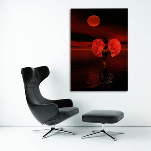 Angel Beauty Red Moon - Framed Canvas Painting Wall Art Office Decor, large modern pop artwork for home or office, Entrepreneur Inspirational and motivational Quotes on Canvas great for man cave or home. Perfect for Artwork Addicts. Made in USA, FREE Shipping.