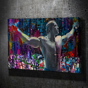 Arnold Conquer Graffiti - Framed Canvas Painting Wall Art Office Decor, large modern pop artwork for home or office, Entrepreneur Inspirational and motivational Quotes on Canvas great for man cave or home. Perfect for Artwork Addicts. Made in USA, FREE Shipping.