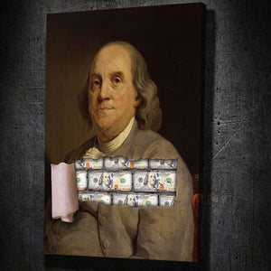 Benjamin's Franklin - Framed Canvas Painting Wall Art Office Decor, large modern pop artwork for home or office, Entrepreneur Inspirational and motivational Quotes on Canvas great for man cave or home. Perfect for Artwork Addicts. Made in USA, FREE Shipping.